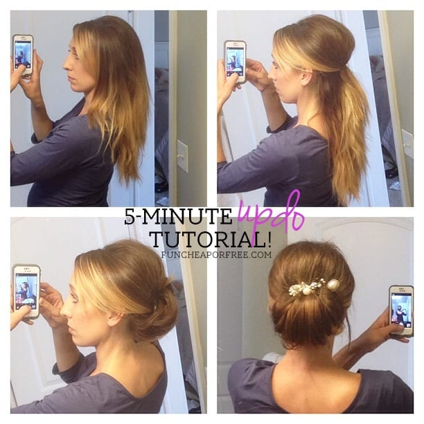 5-minute updo hair tutorial...no curling required. SO EASY! From FunCheapOrFree.com