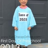 Super easy back-to-school tradition! Take a photo of your child wearing the same shirt on the first day of school every year, ending with their graduation day. From FunCheapOrFree.com