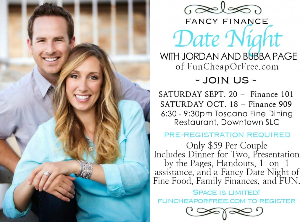Finance Date Night - ticket includes 2-course dinner and personal coaching from family finance experts! Details at FunCheapOrFree.com