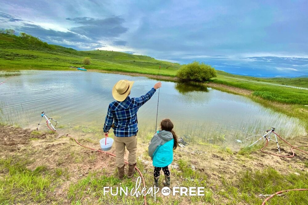 Dad and daughter fishing in a pond, from fun cheap or free