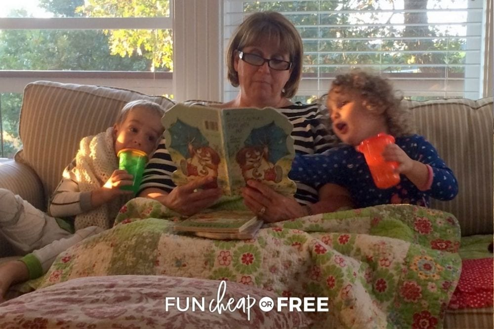 grandma reading to children on a sofa, from fun cheap or free