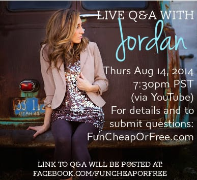 Live Q&A with blogger & frugal living expert - Aug 14 via YouTube.