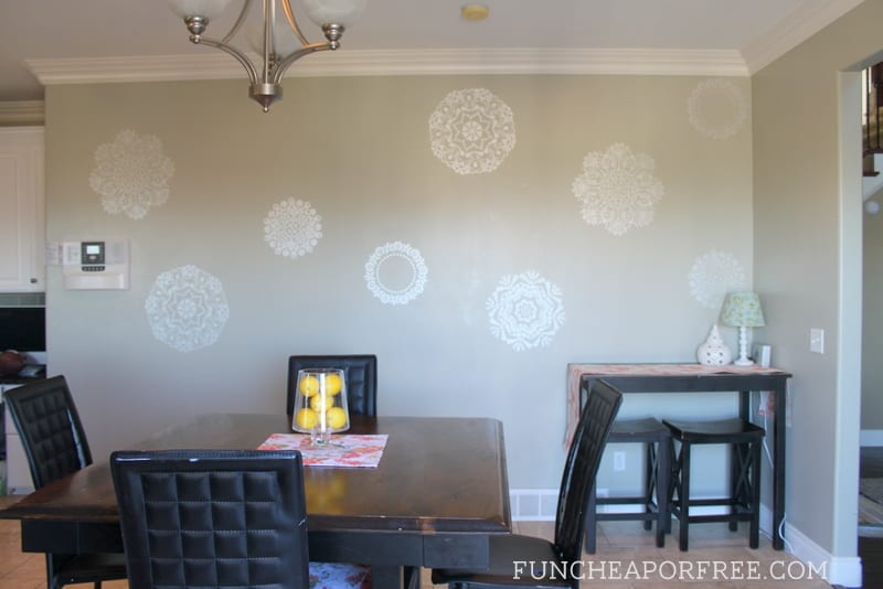 Super cute and easy doily wall stencil accents in a kitchen