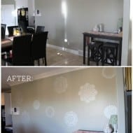 Doily wall stencil kitchen accent - super easy to do!
