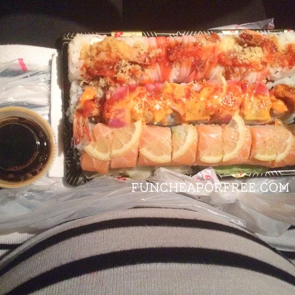 Sushi date for one...in my car. Yes please!