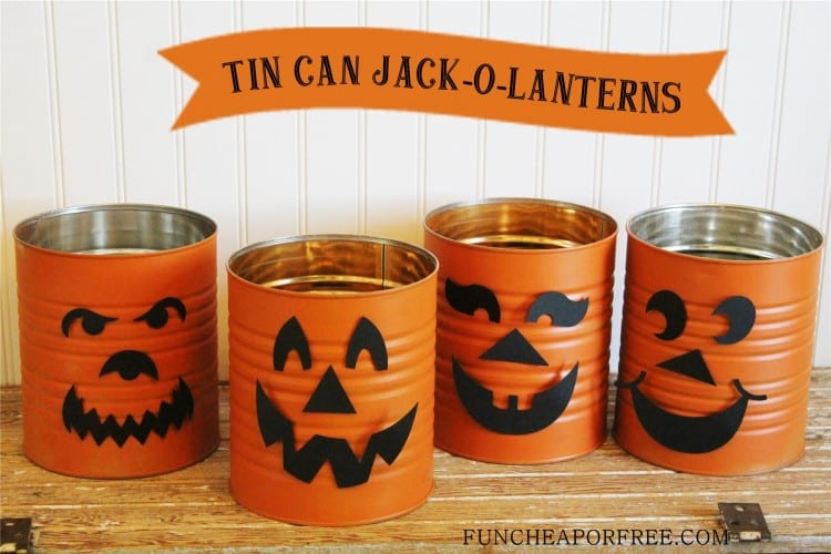 Easy tin can jack-o-lantern. Mix & match face pieces for a fun craft & activity! From FunCheapOrFree.com