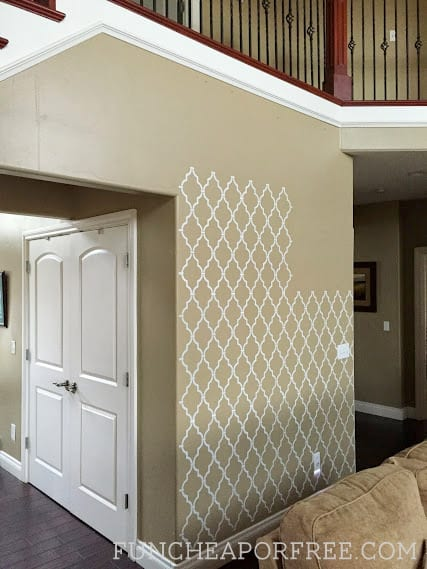 DIY wall stencil tutorial from FunCheapOrFree.com