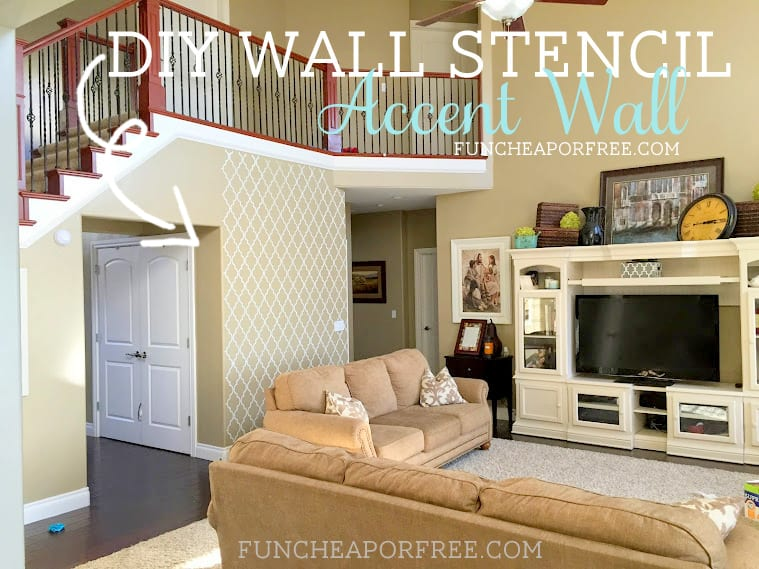 DIY quatrefoil wall stencil accent wall...SO EASY, big impact! from FunCheapOrFree.com