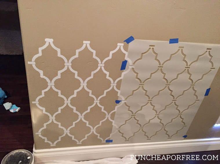 DIY quatrefoil wall stencil tutorial - easy and beautiful accent wall!