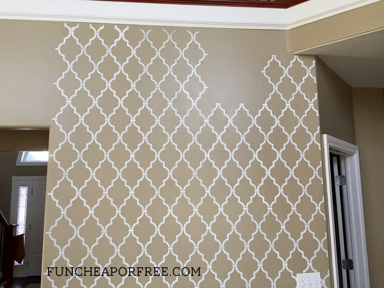 DIY quatrefoil wall stencil tutorial from FunCheapOrFree.com. So easy to do!