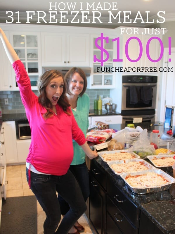 How I made 31 freezer meals for just $100...in 4 hours! from FunCheapOrFree.com
