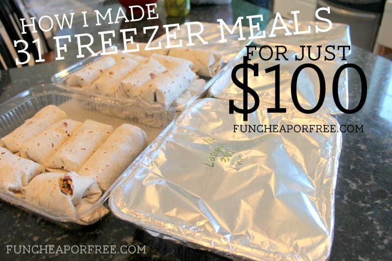 How I made 31 freezer meals for just $100, in 4 hours! Includes free 30 page freezer meal recipe e-book! From FunCheapOrFree.com
