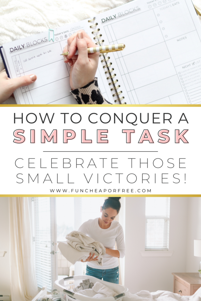 """Image with text that reads """"how to conquer a simple task"""" from Fun Cheap or Free"""