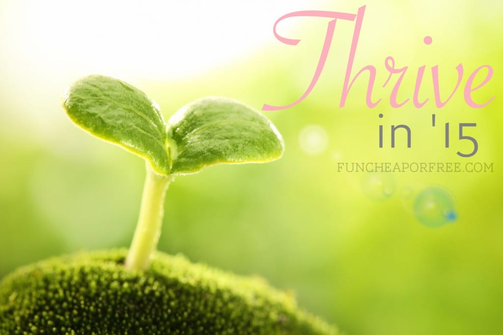 Thrive in '15: Monthly challenges to guide you to a year of growth and happiness! From FunCheapOrFree.com