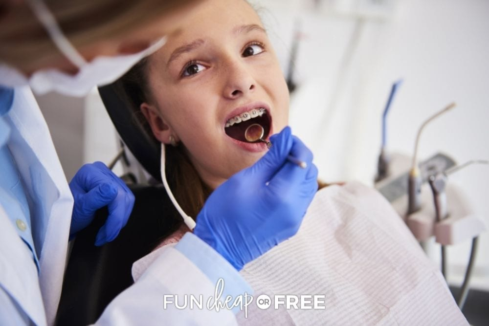 kid at orthodontist appointment for braces, from Fun Cheap or Free