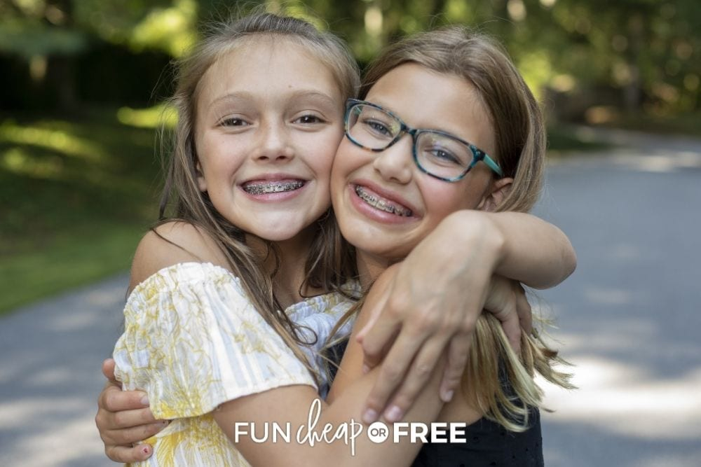two young girls with braces, from Fun Cheap or Free
