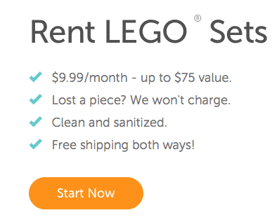 Lego rental! All the fun without the expense. Such a cool idea!