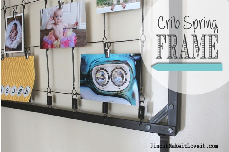 DIY Crib spring turned picture frame! So clever (and SO EASY!) from FunCheapOrFree.com