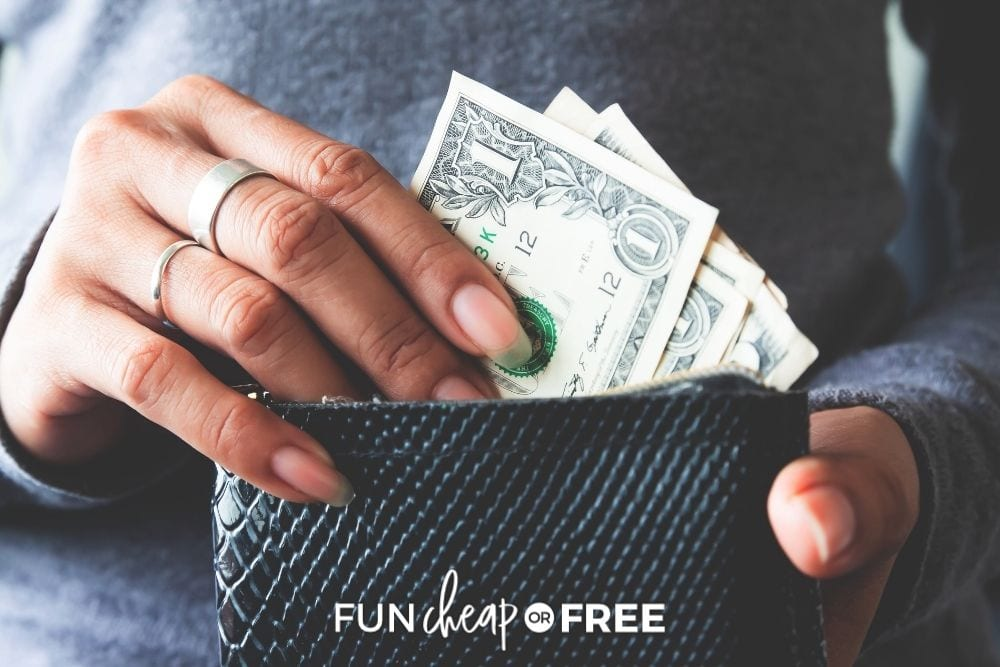 woman taking cash out of wallet, from Fun Cheap or Free
