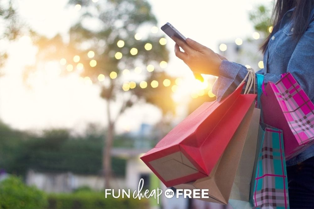 woman using phone to price match while shopping, from Fun Cheap or Free