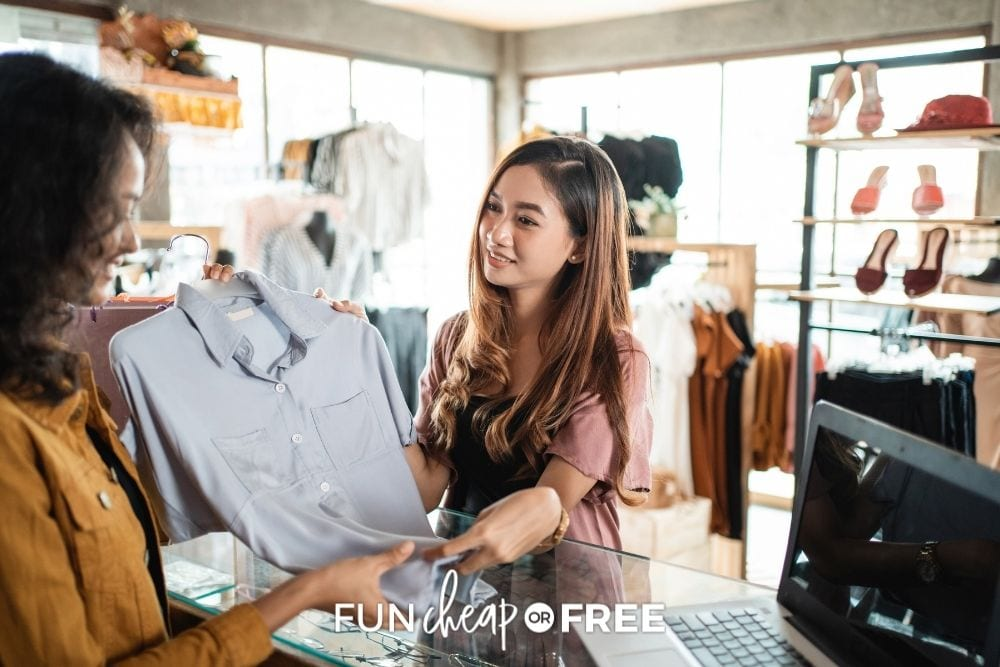 woman haggling for shirt at checkout, from Fun Cheap or Free