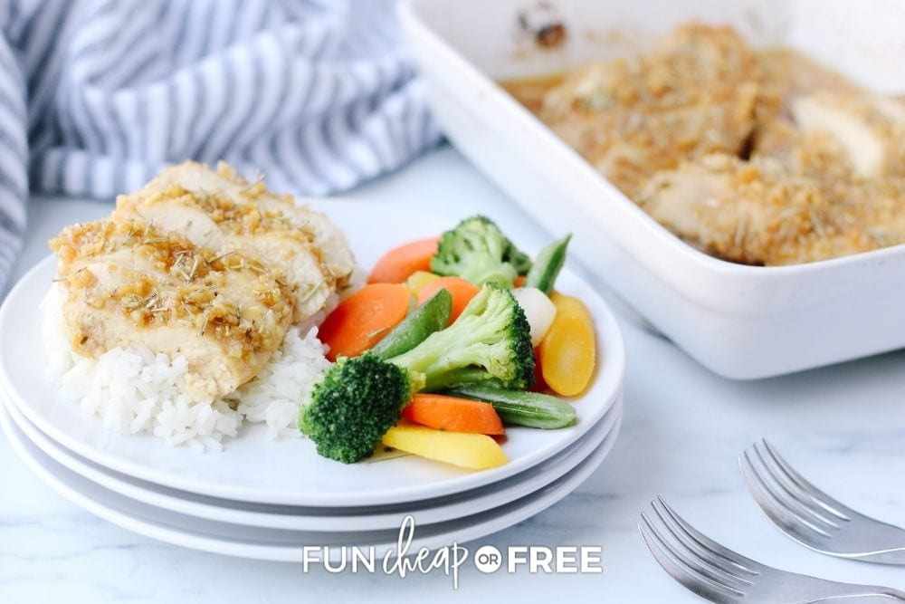 plate of chicken and veggies next to baking dish, from Fun Cheap or Free