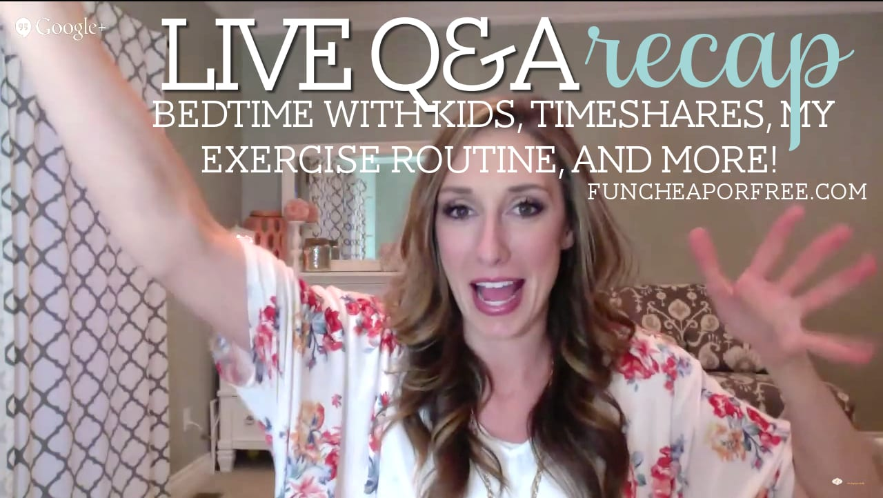 Live Q&A with Family Finance Guru: Bedtime with kids, how to pay for medical bills, my personal exercise routine, and more! from FunCheapOrFree.com