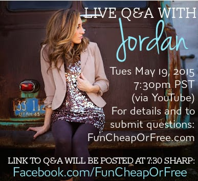 LIVE Q&A via YouTube with Jordan Page, Family Finance Guru and Frugal Living Expert! Details at FunCheapOrFree.com