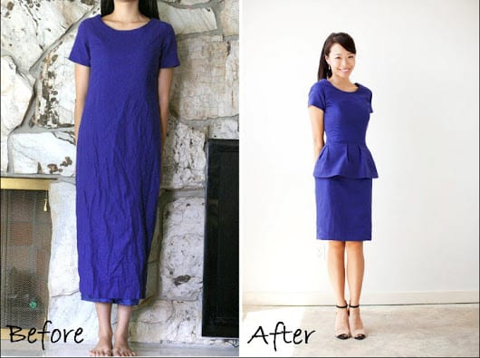 Mum turned peplum dress! Amazing, simple DIY - FunCheapOrFree.com