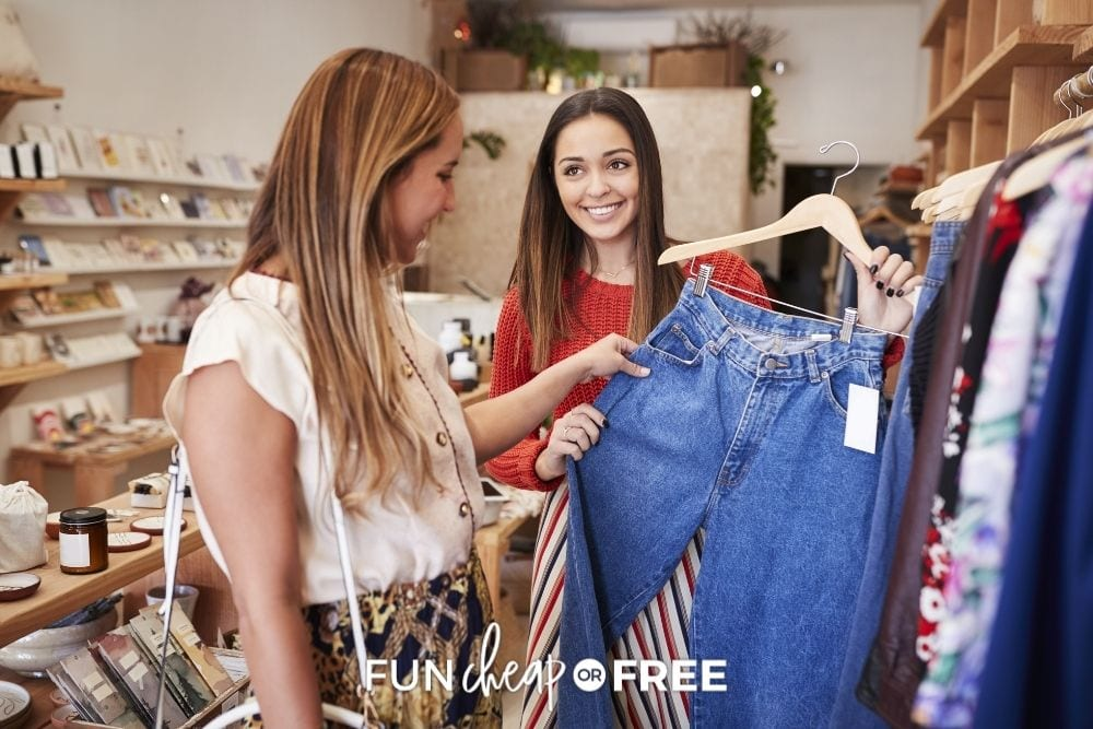 women shopping for used clothes, from Fun Cheap or Free