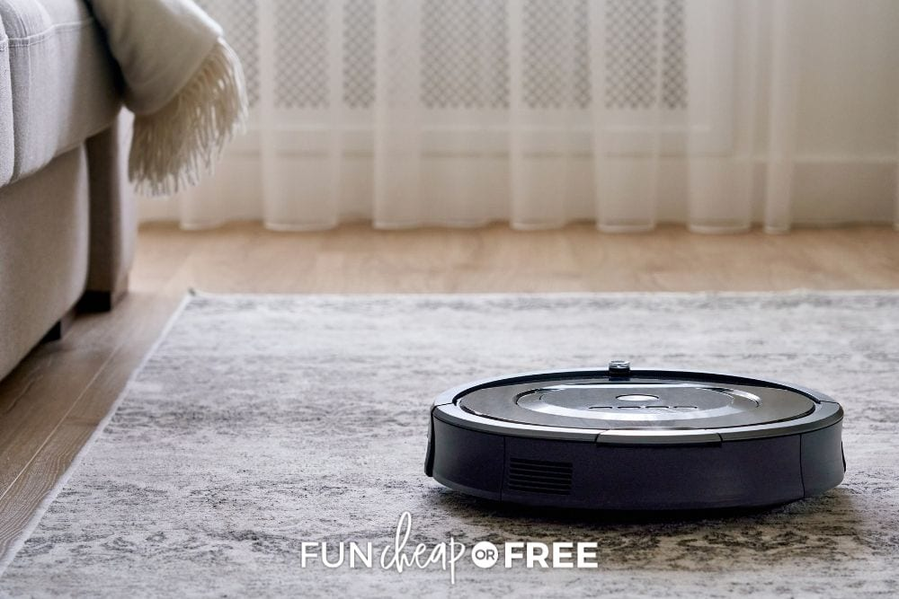 Roomba vacuum on living room floor, from Fun Cheap or Free