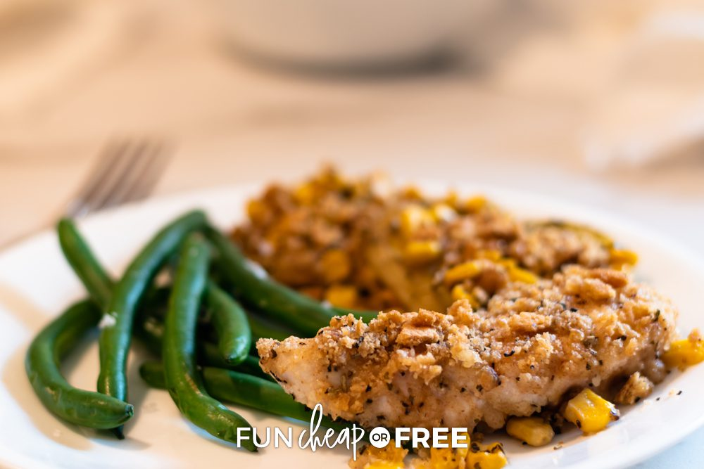 Delicious chicken and green beans on a plate, from Fun Cheap or Free