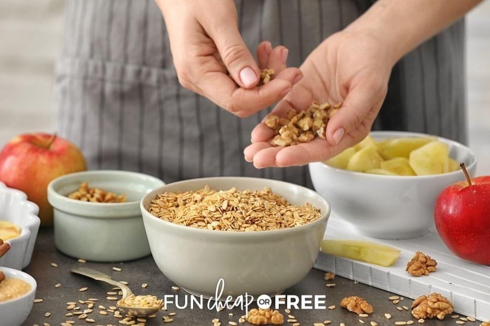woman sorting oats, from Fun Cheap or Free