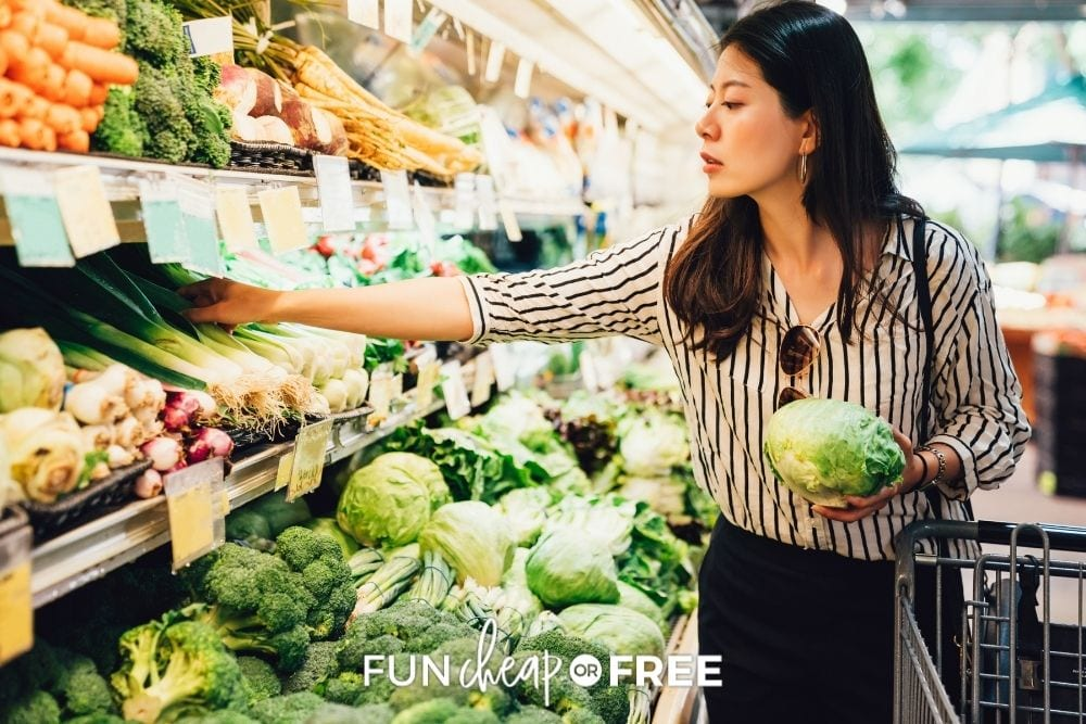 woman shopping for vegetables, from Fun Cheap or Free