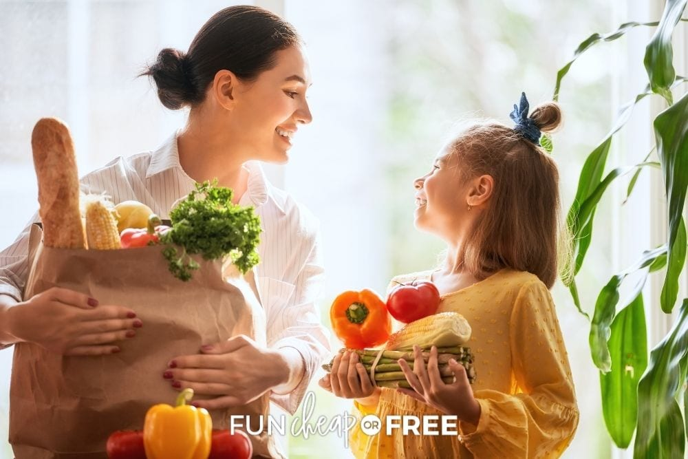 mom and daughter with healthy groceries, from Fun Cheap or Free
