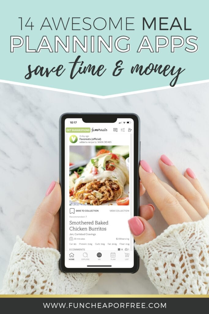 """Image reading """"14 Awesome Meal Planning Apps to Save Time & Money"""" from Fun Cheap or Free"""