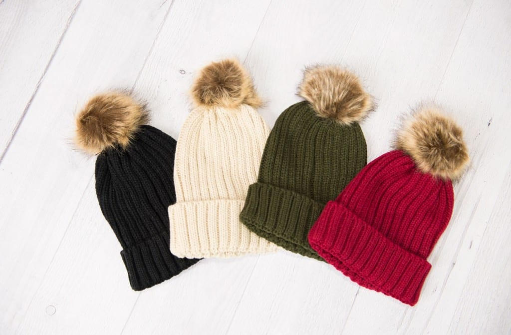 Knit Fur Pom Beanies, only $6.99 (reg $19.95)! 4 colors!