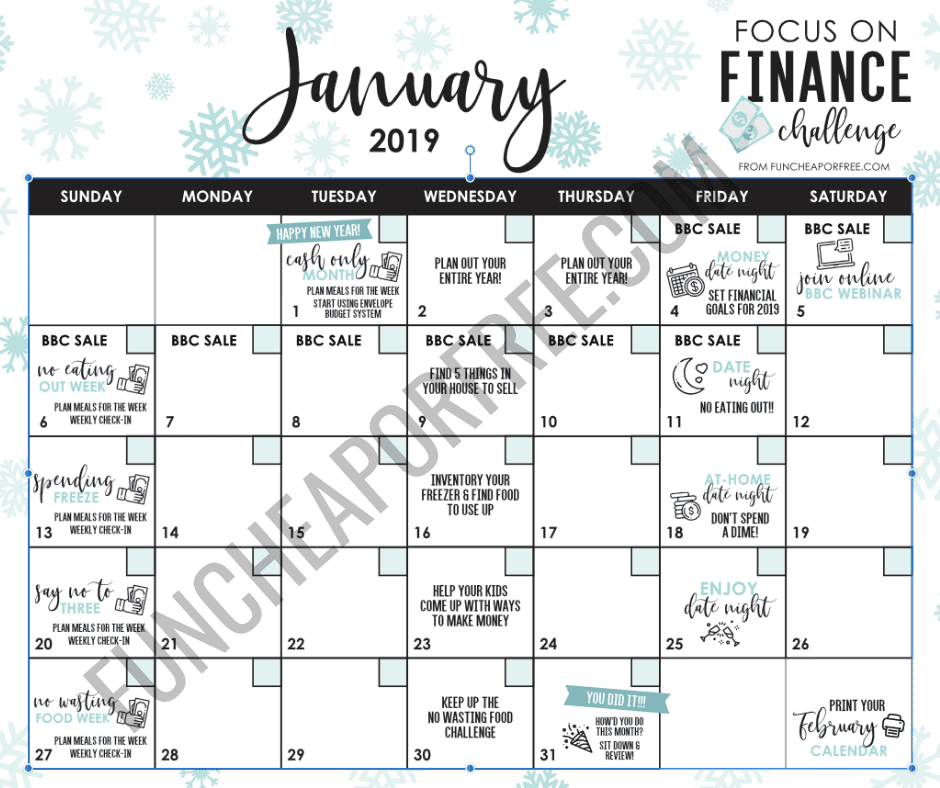 image regarding Printable Budget Calendar identify January: Attention Upon Finance Thirty day period - Cost-free printable calendar