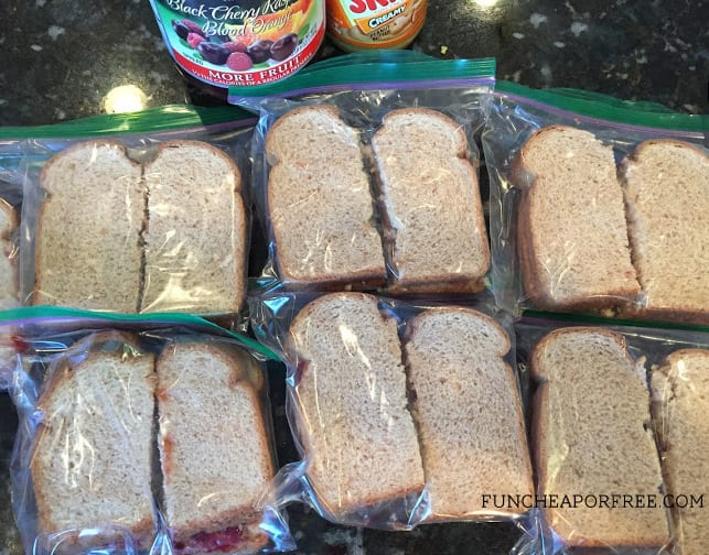 Make a whole stack of PB&Js and FREEZE THEM! Perfect for school lunches.