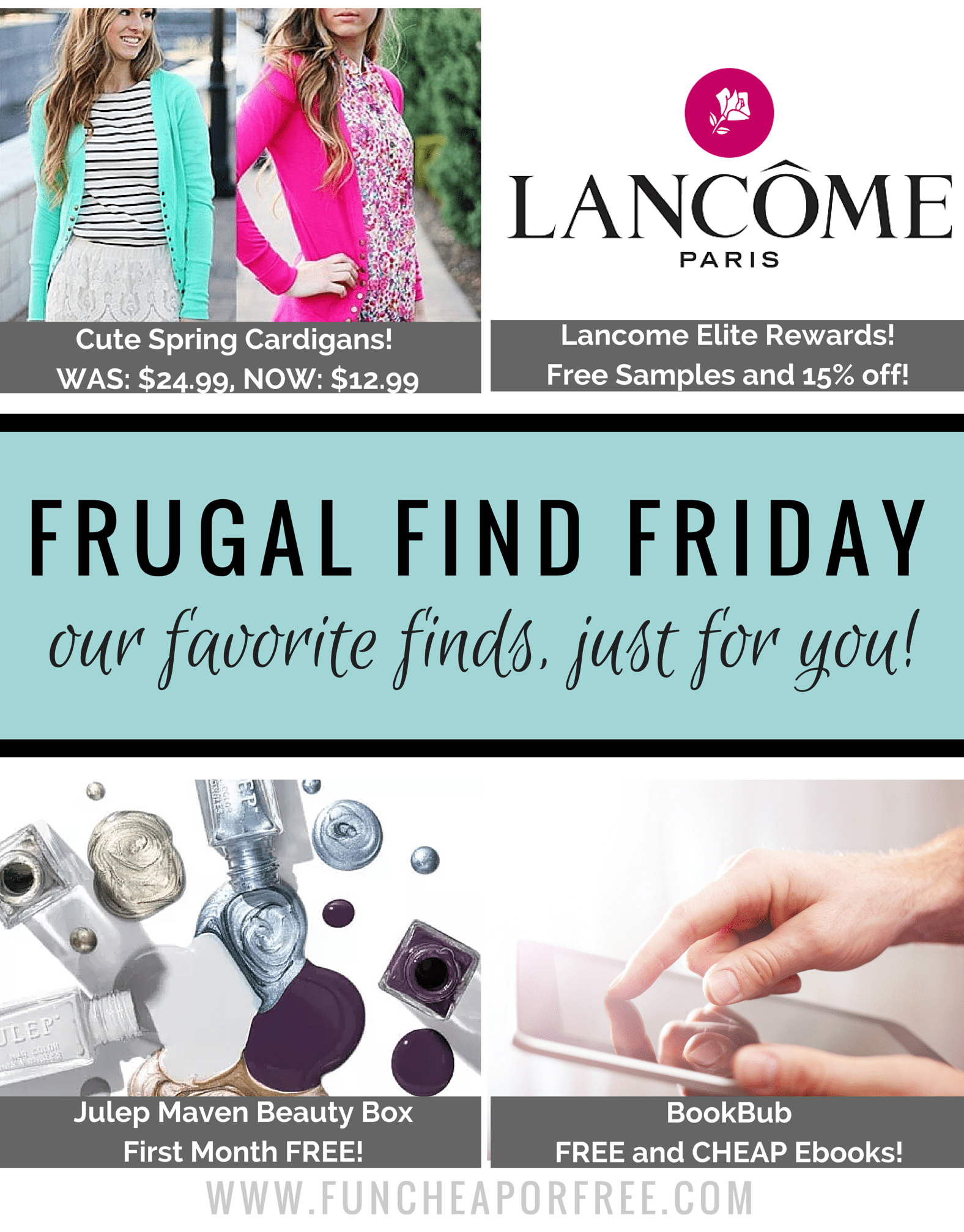 Frugal Finds for MOM! cute cardigans, BLISS at 75% off, FREE nail polish, and FREE e-books! www.FunCheapOrFree.com