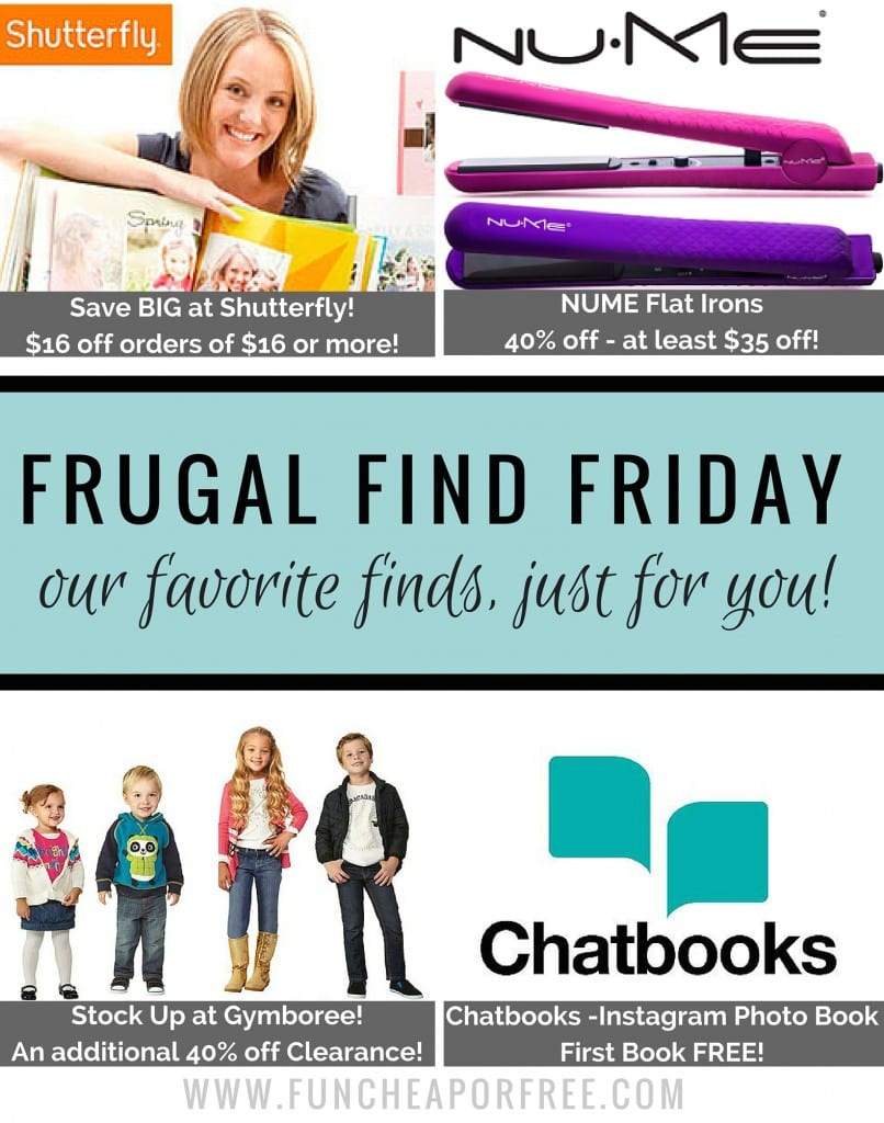 The best deals online, gathered for you! BIG savings on Shutterfly, NUME, Gymboree, and a FREE Chatbook! www.FunCheapOrFree.com