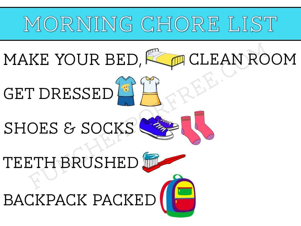 FREE PRINTABLE! Morning Chores are easy with this chore list! www.funcheaporfree.com