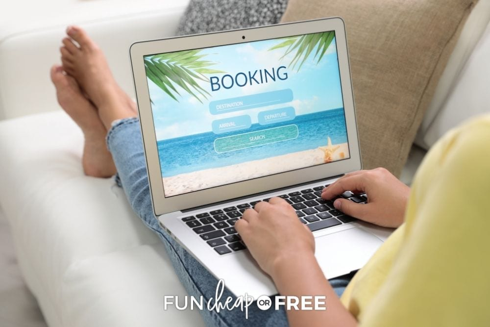 woman booking a flight on couch, from Fun Cheap or Free