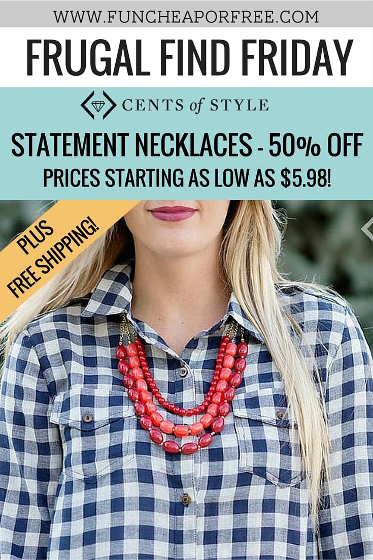 Spring is coming -- get accessorized! Cents of Style has an EXCLUSIVE discount just for Freebs - save 50% for a limited time! Get the details, www.FunCheapOrFree.com