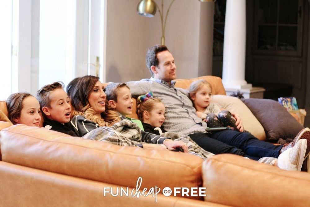 The Page family watching TV, from Fun Cheap or Free