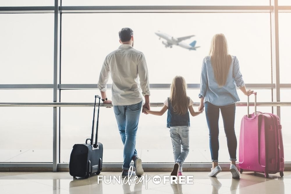 family with young daughter at airport, from Fun Cheap or Free