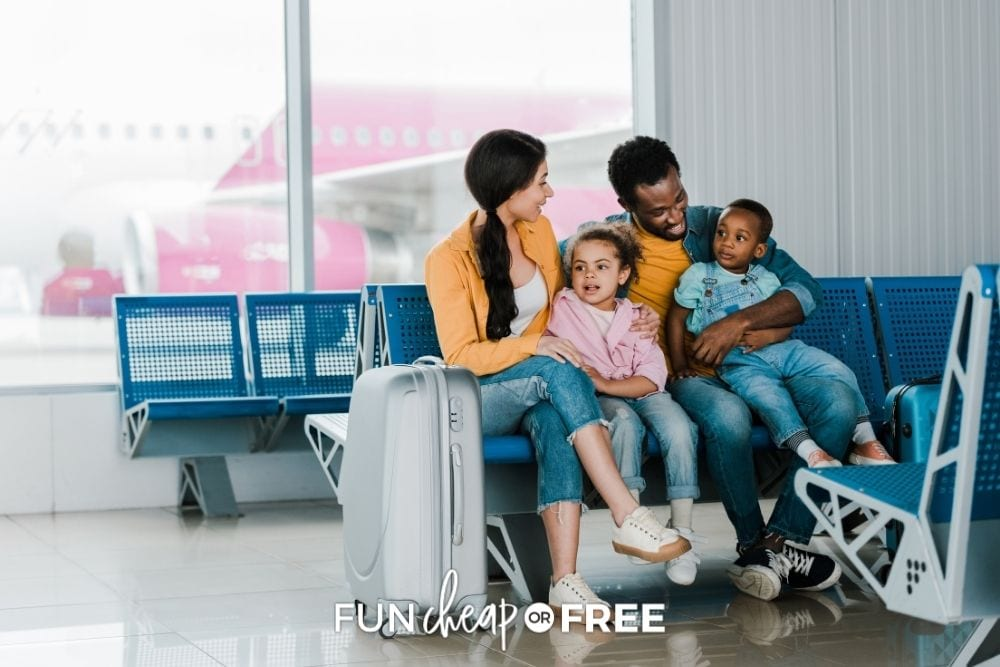 family with kids waiting to board plane, from Fun Cheap or Free