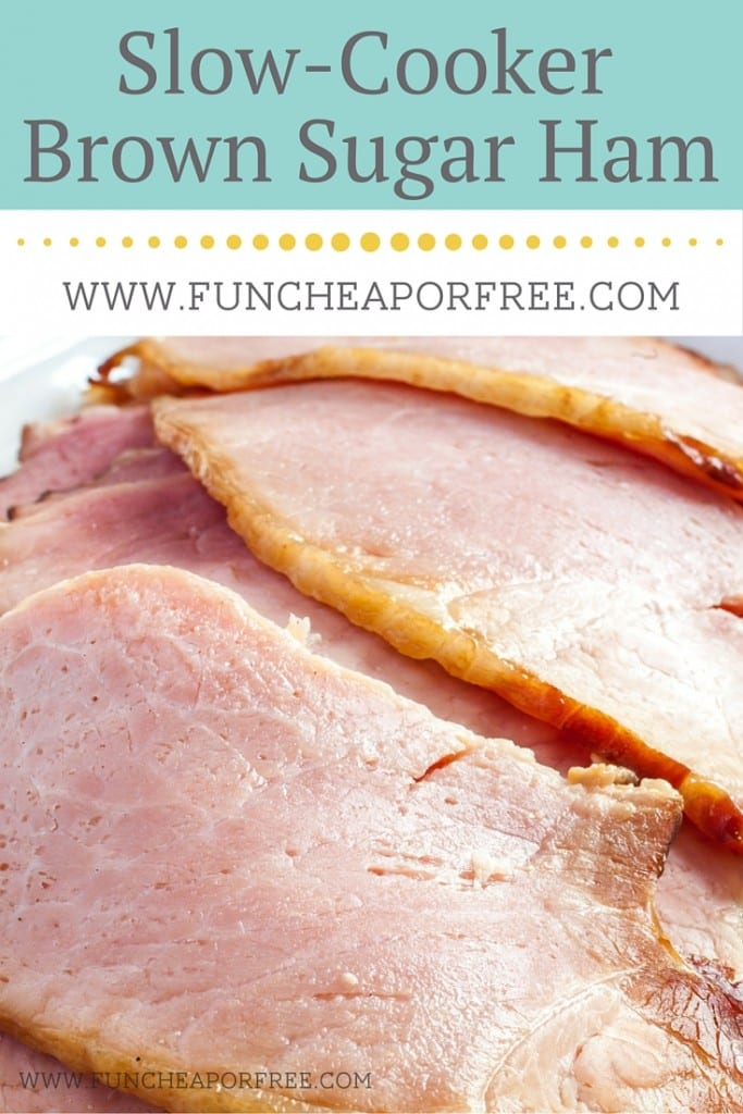 Brown sugar slow-cooker ham -- the Sunday night dinner of your dreams! Easy to put together! Cheesy scalloped potatoes, spinach and strawberry salad with homemade dressing, and finish it off with death by chocolate cake! It's a winner!! www.FunCheapOrFree.com