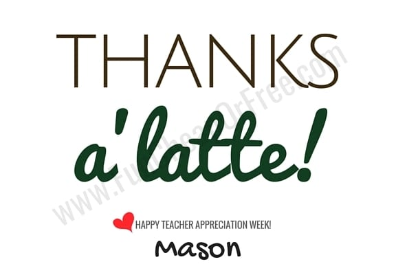 picture about Starbucks Printable Gift Card called Instructor Appreciation Printables - Items Below $5! - Pleasurable