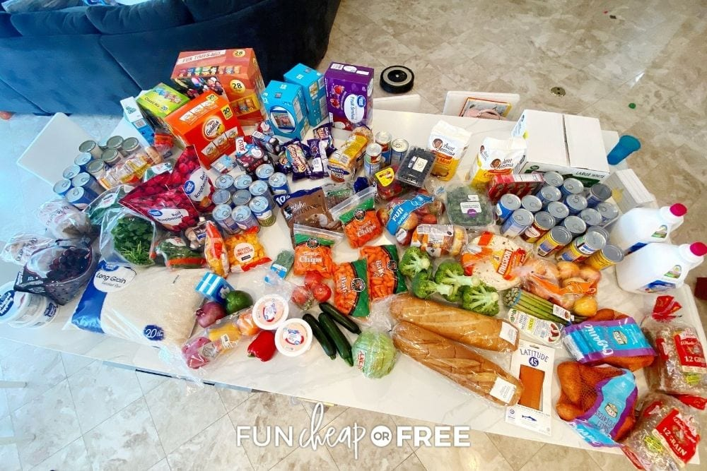 grocery haul on kitchen counter, from Fun Cheap or Free
